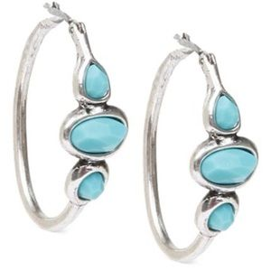 """Lucky Brand Silver-Tone Turquoise 1"""" Hoop Earrings"""